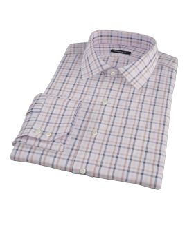 Cortina Pink Navy Brown Check Fitted Shirt