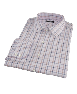 Cortina Pink Navy Brown Check Dress Shirt