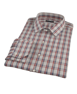 Maroon and Blue Plaid Dress Shirt