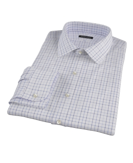 Blue and Light Blue Windowpane Men's Dress Shirt