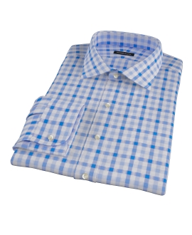 Light Blue and Blue Gingham Fitted Dress Shirt