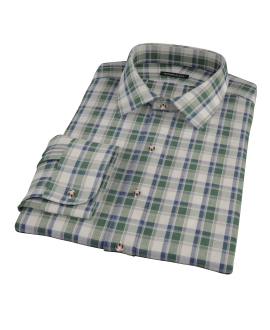 Green Brushed Twill Plaid Fitted Dress Shirt