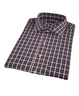 Mandarin Ocean Plaid Short Sleeve Shirt