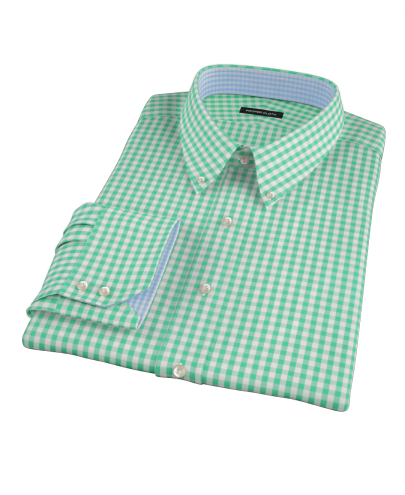 Canclini Light Green Gingham Fitted Dress Shirt