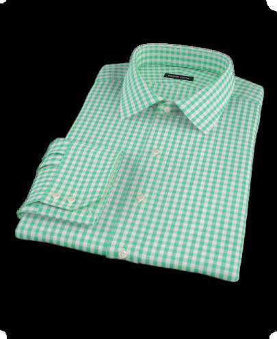 Canclini Light Green Gingham Custom Dress Shirt