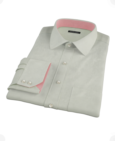 Soft Green Basketweave Men's Dress Shirt