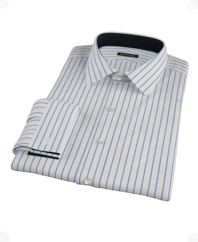 Navy Stripe Fitted Dress Shirt