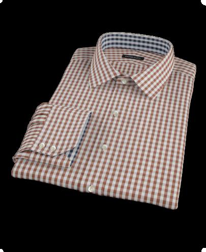 Clove Brown Gingham Fitted Dress Shirt