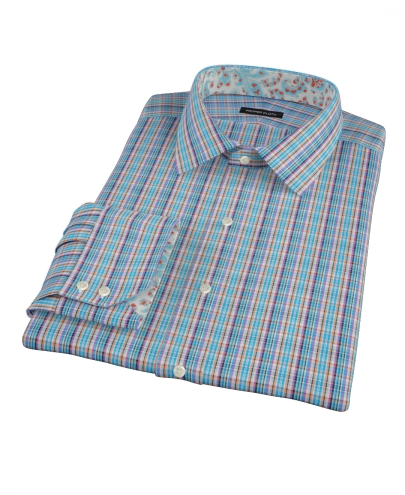 Blue and Orange Tartan Men's Dress Shirt