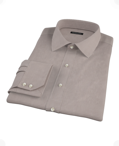 Brown and Grey Check Custom Dress Shirt