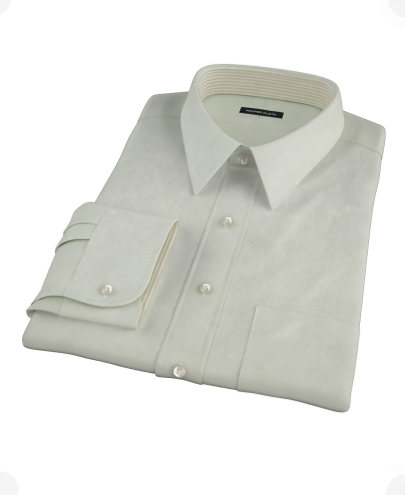 Soft Green Basketweave Men's Dress Shirt