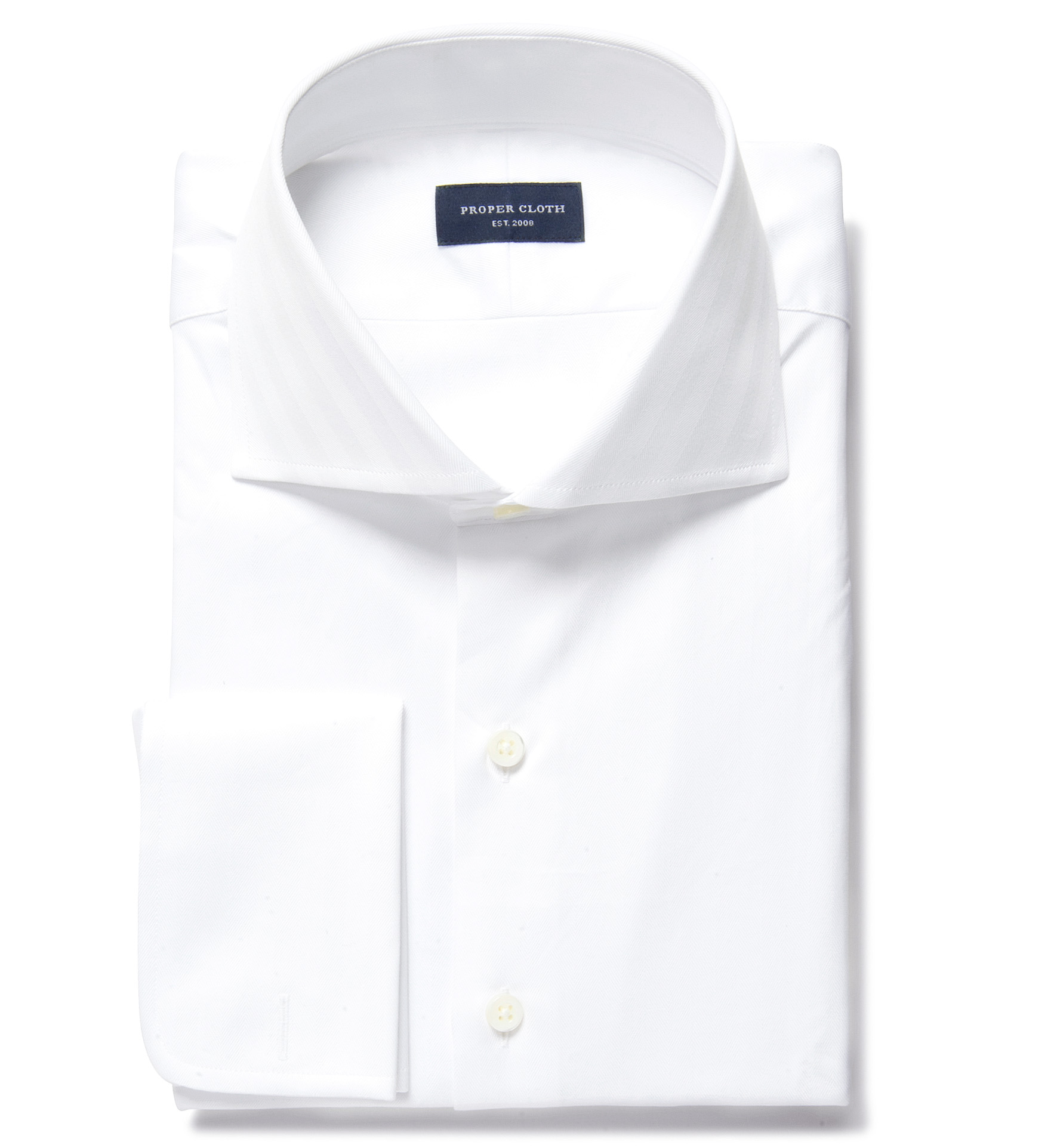 Dja sea island white herringbone men 39 s dress shirt by for White herringbone dress shirt