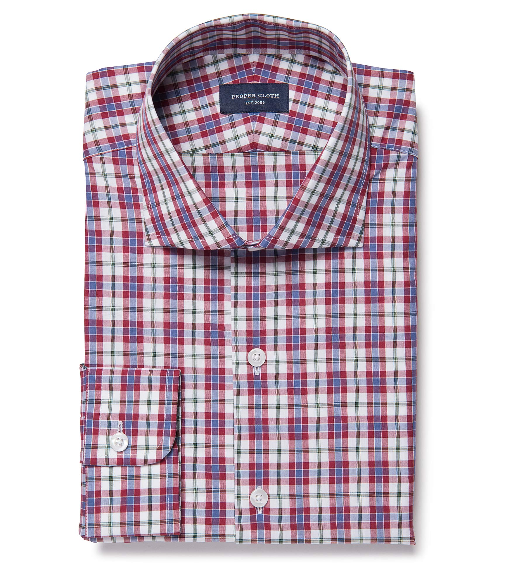 Siena red and green multi check custom made shirt by for Proper cloth custom shirt price