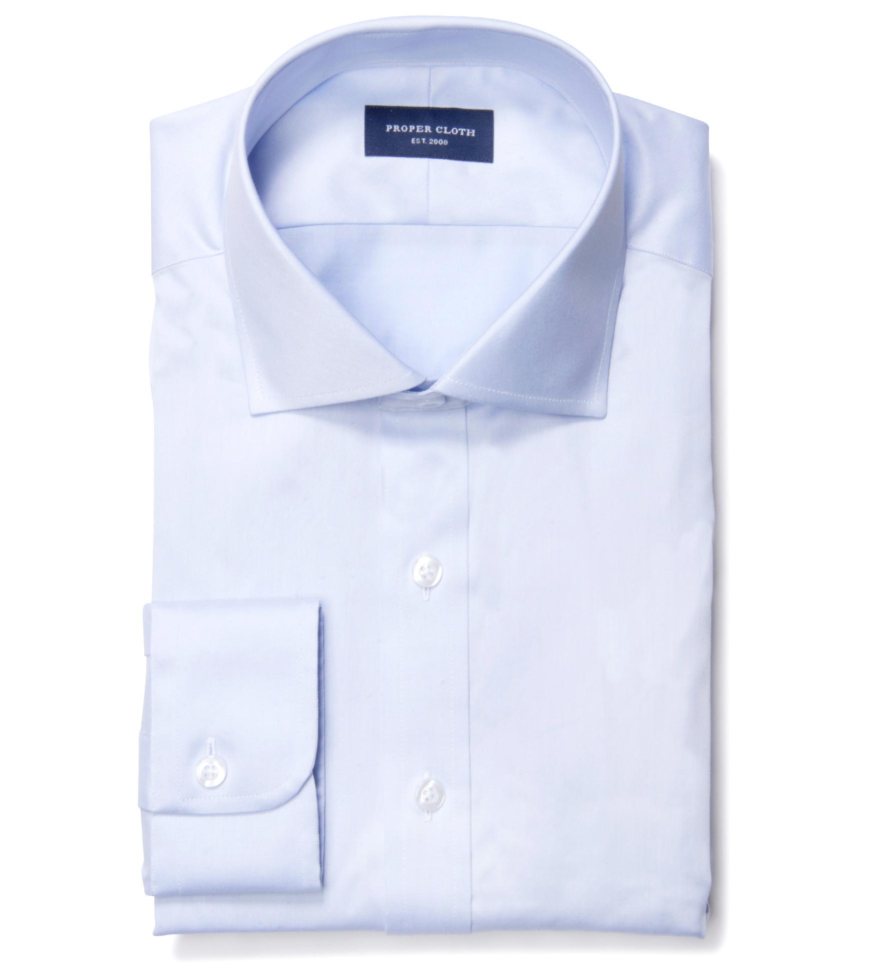 Hudson light blue wrinkle resistant twill custom dress for Wrinkle resistant dress shirts