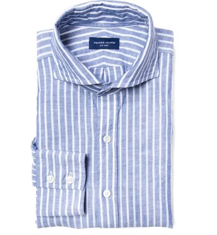 Marine Blue Cotton Linen Stripe Custom Made Shirt by Proper Cloth