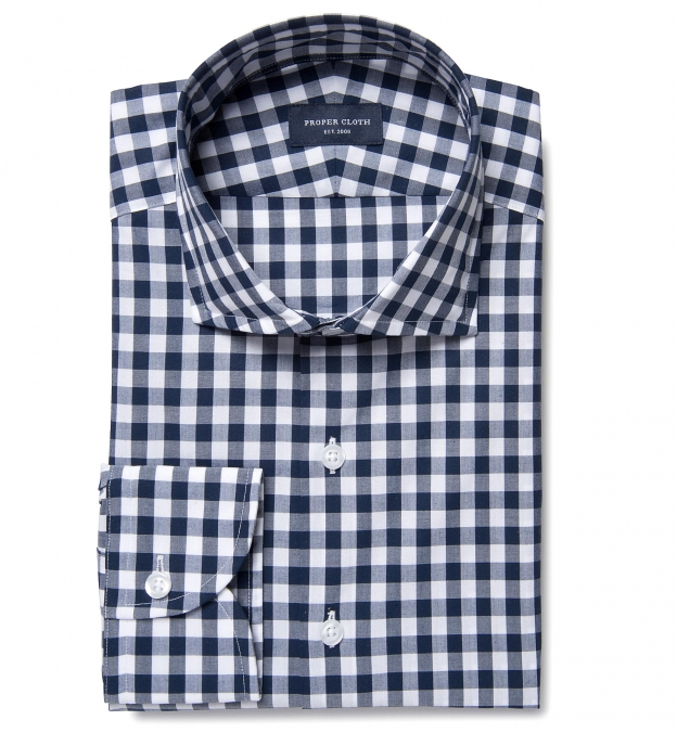 navy blue large gingham tailor made shirt by proper cloth