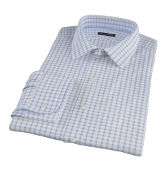 Thomas Mason Dark Blue Grid Men's Dress Shirt