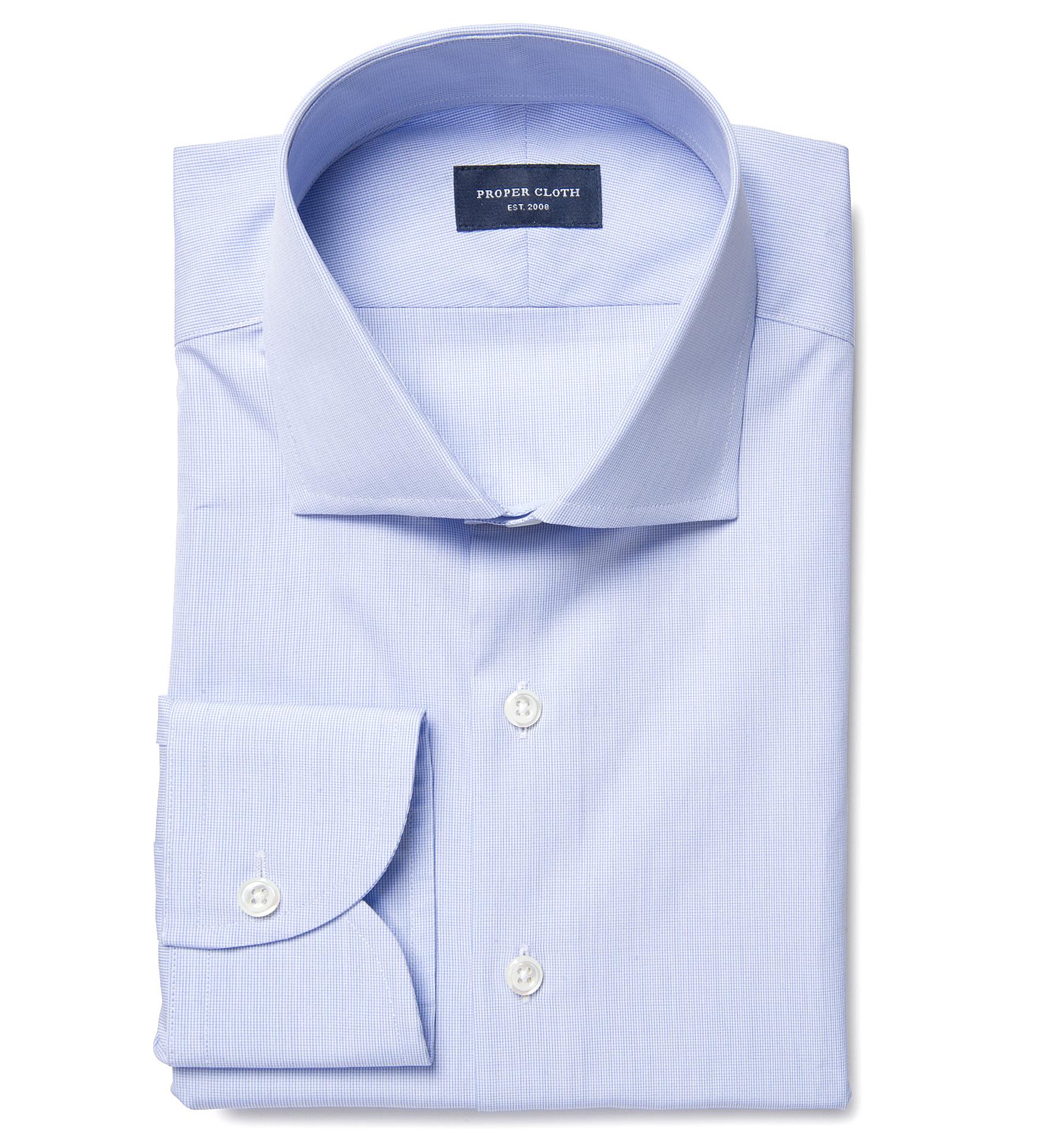 Thomas Mason 120s Blue Micro Grid Fitted Dress Shirt By