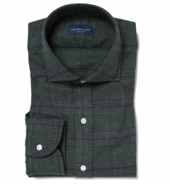 Canclini Forest Tonal Plaid Beacon Flannel Fitted Dress Shirt