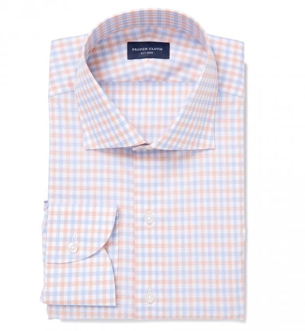 Thomas mason orange and blue end on end check custom made for Thomas mason dress shirts