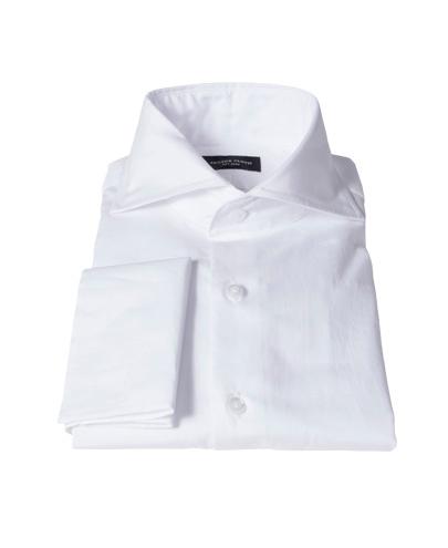 Canclini White Broadcloth Men's Dress Shirt