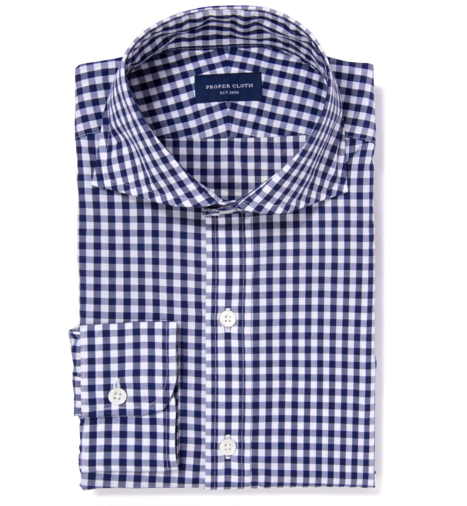 Canclini 120s Navy Gingham Fitted Shirt By Proper Cloth