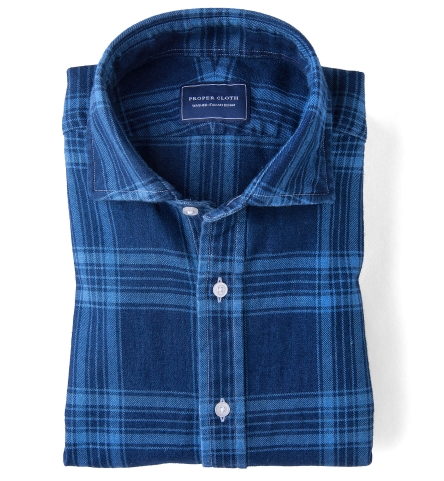 Japanese dark wash indigo plaid flannel fitted shirt by for How to wash flannel shirts