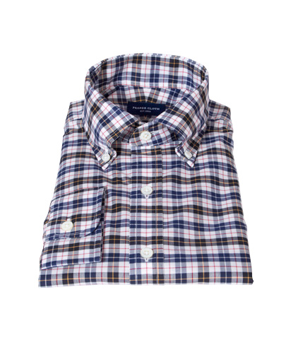 Vincent White Navy Red Plaid Men's Dress Shirt