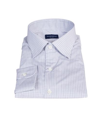 Albini Grey and Black Tattersall Custom Made Shirt