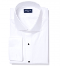 Canclini White Fine Twill Men's Dress Shirt