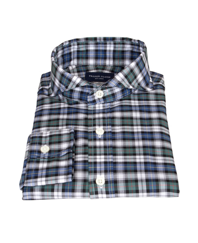Vincent Green and Blue Plaid Fitted Dress Shirt