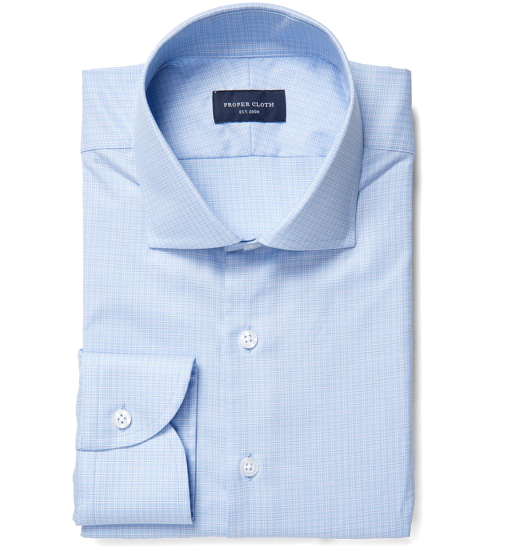Morris wrinkle resistant light blue small check dress for Wrinkle resistant dress shirts