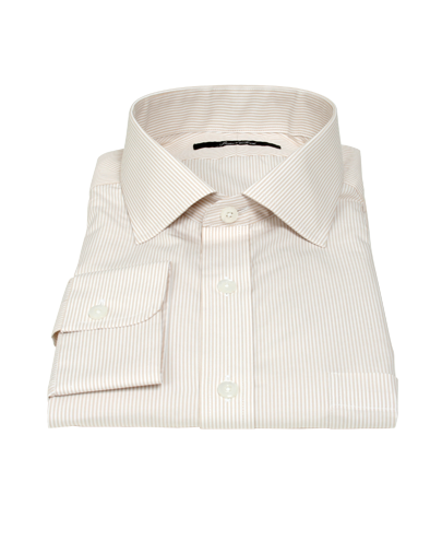 100s Khaki Stripe Custom Dress Shirt