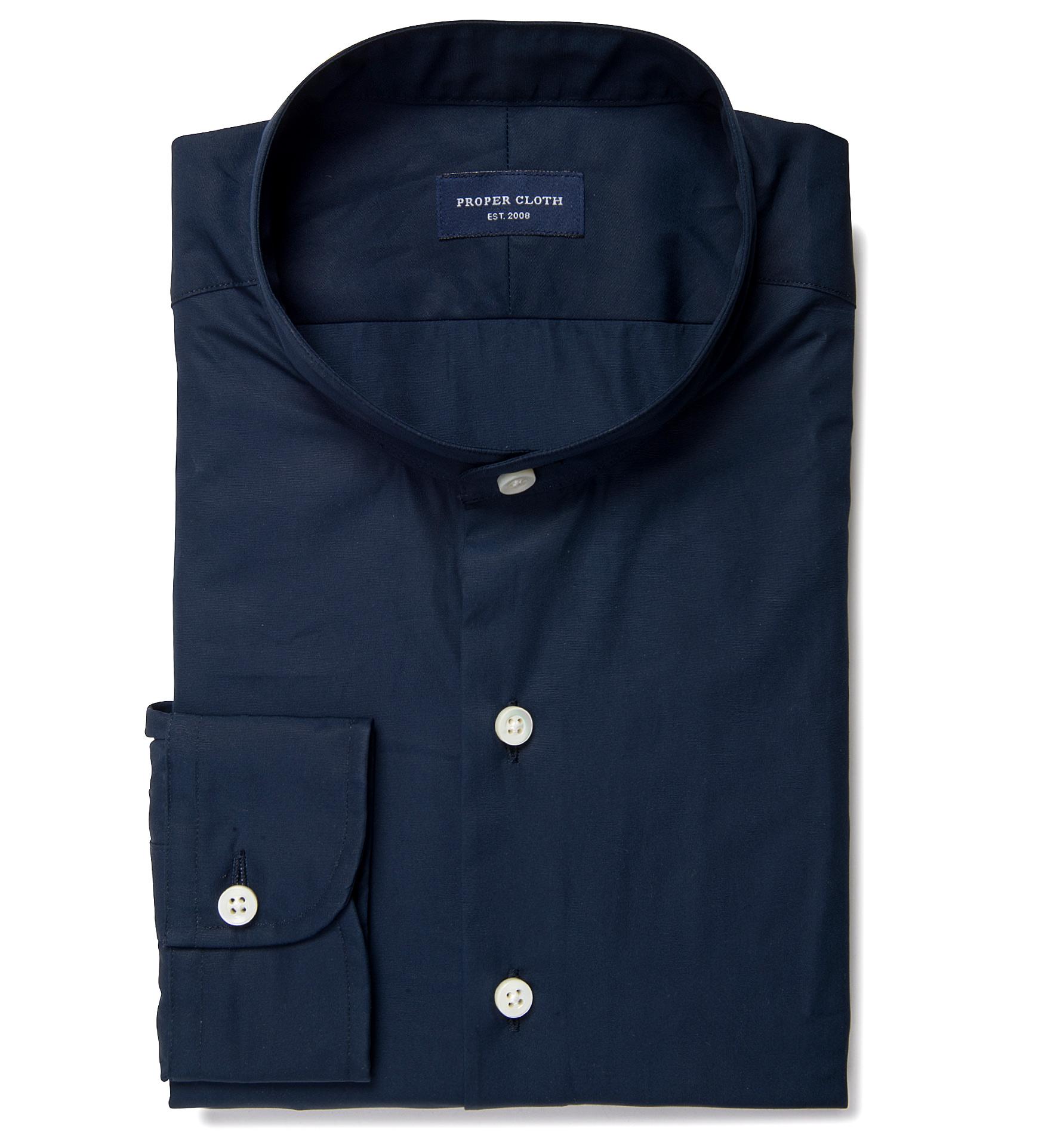 Thomas Mason Navy Luxury Broadcloth Custom Dress Shirt By