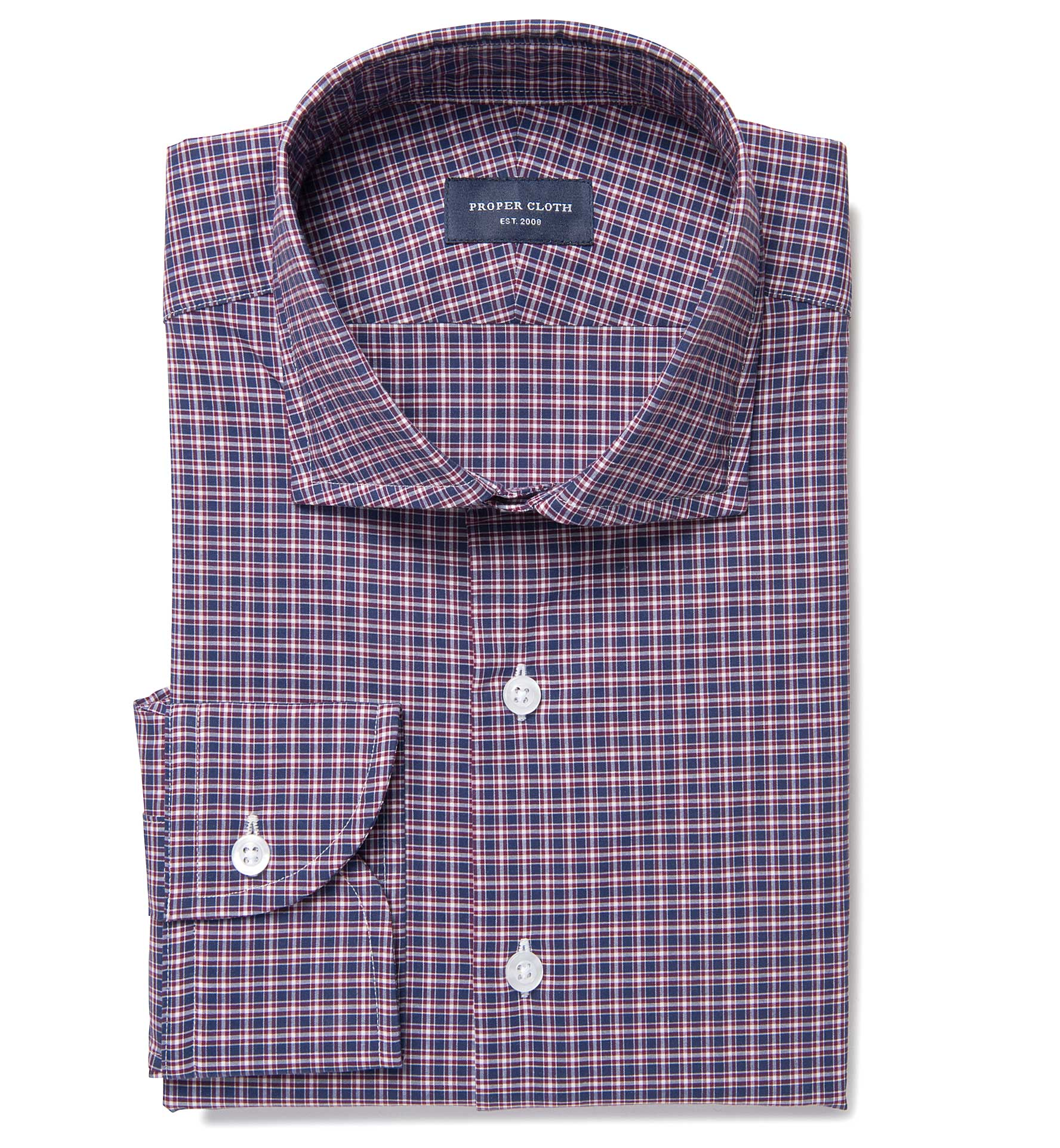 Lorimer Navy And Red Small Plaid Dress Shirt By Proper Cloth
