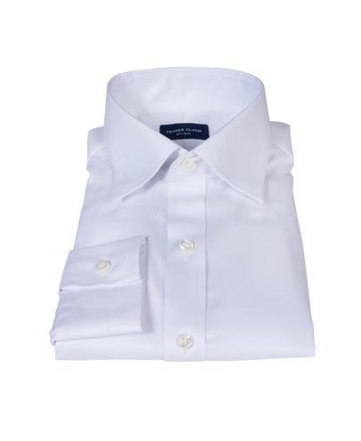 White wrinkle resistant mini herringbone shirts by proper for Wrinkle resistant dress shirts