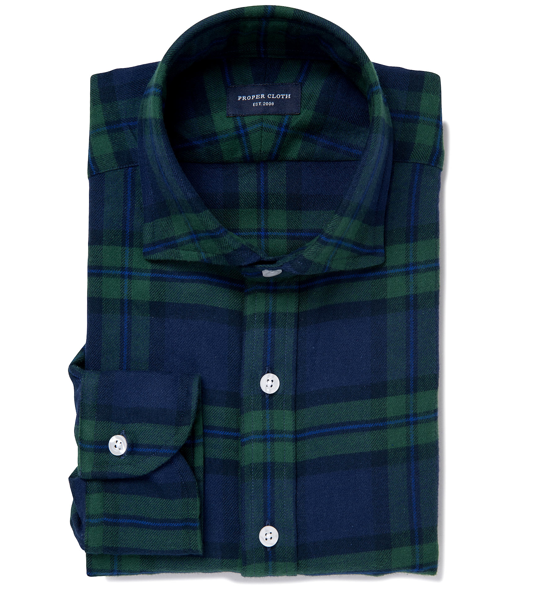 Green And Navy Large Plaid Flannel Fitted Dress Shirt By