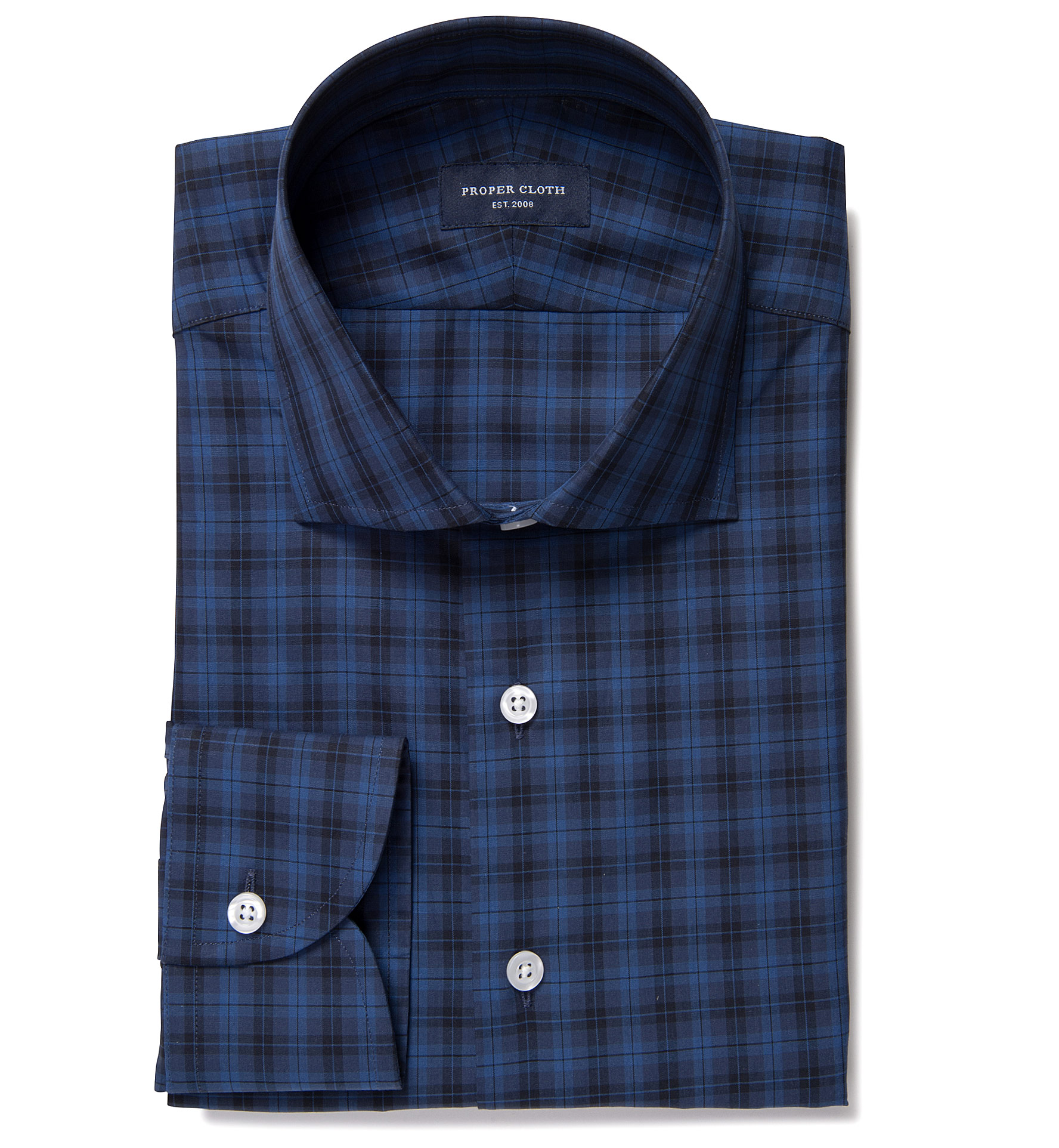Vincent navy and ocean blue plaid dress shirt by proper cloth for Navy blue checkered dress shirt