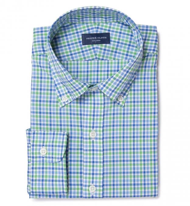 Thomas mason green blue check men 39 s dress shirt by proper for Thomas mason dress shirts