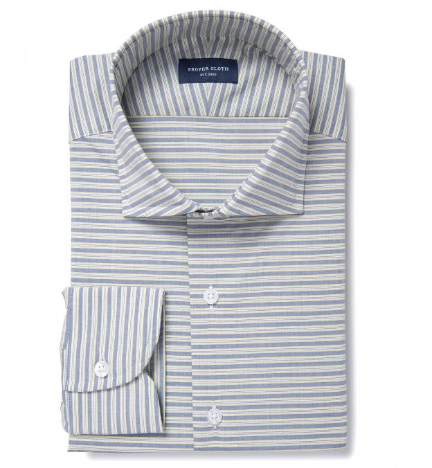 Blue And Yellow Horizon Stripe Custom Dress Shirt By