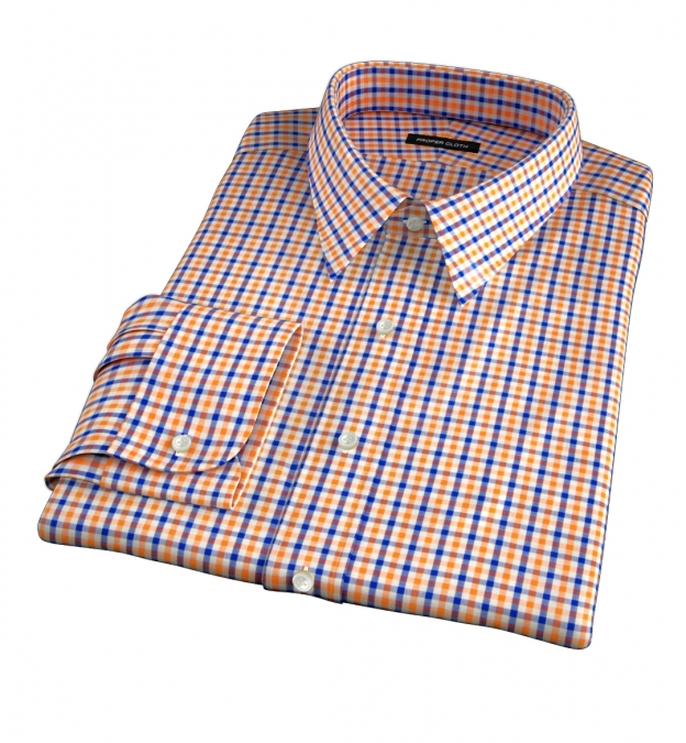 Orange And Blue Gingham Fitted Shirt By Proper Cloth