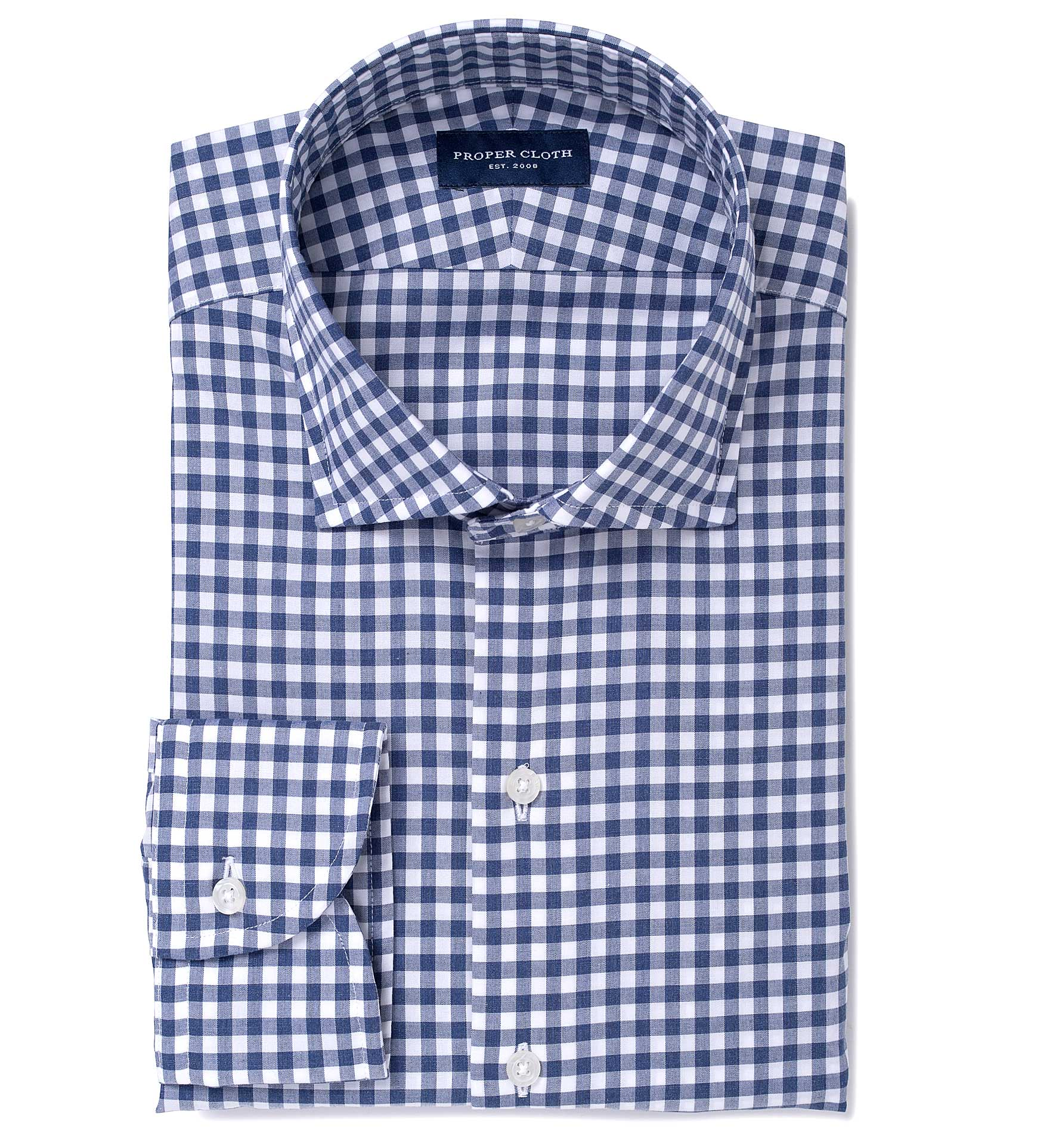 Navy Melange Gingham Custom Dress Shirt By Proper Cloth