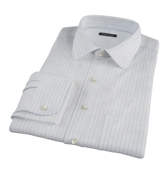Albini Light Blue Satin Stripe Dress Shirt