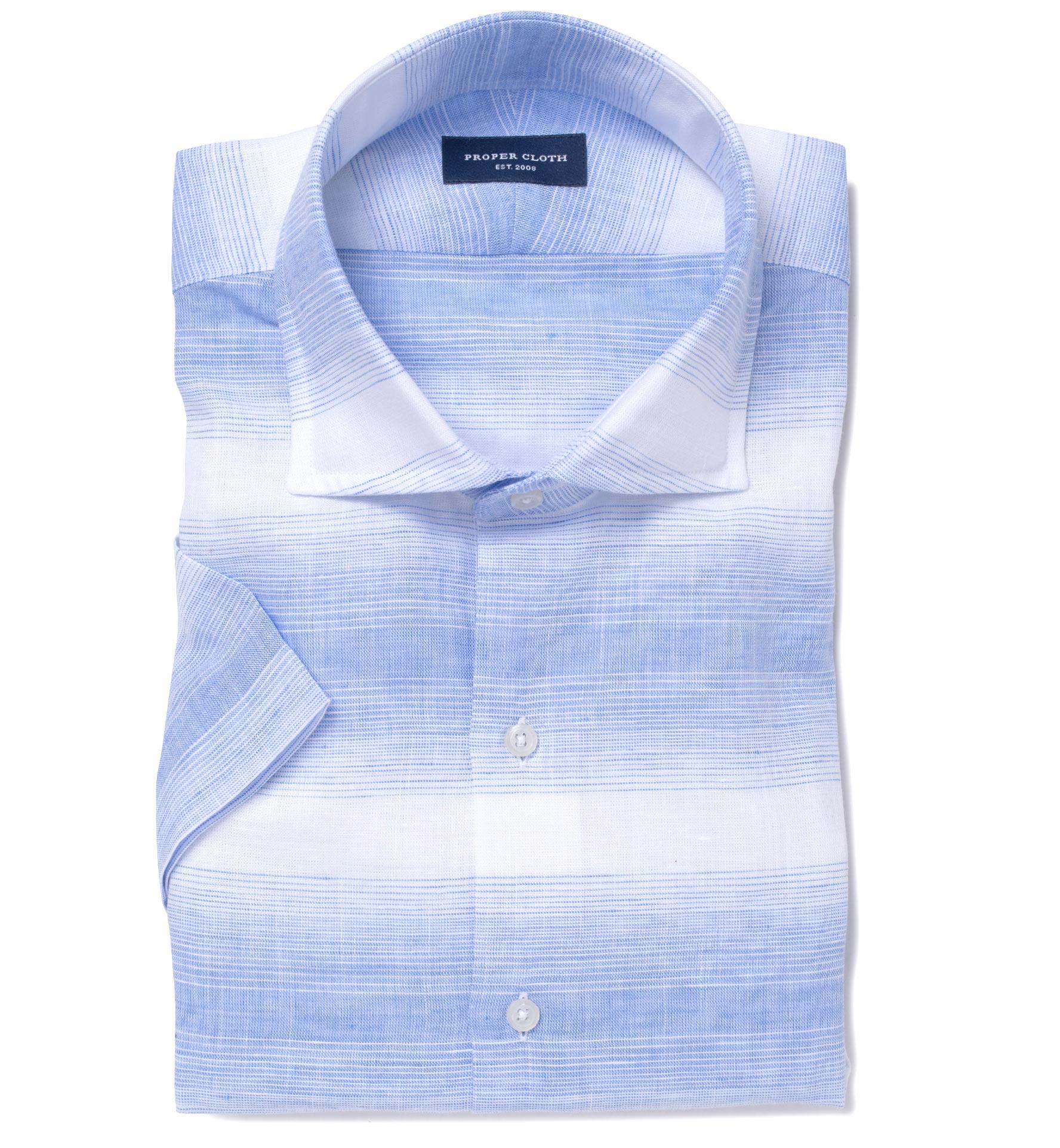 Light blue horizontal ombre stripe short sleeve shirtby for Horizontal striped dress shirts men