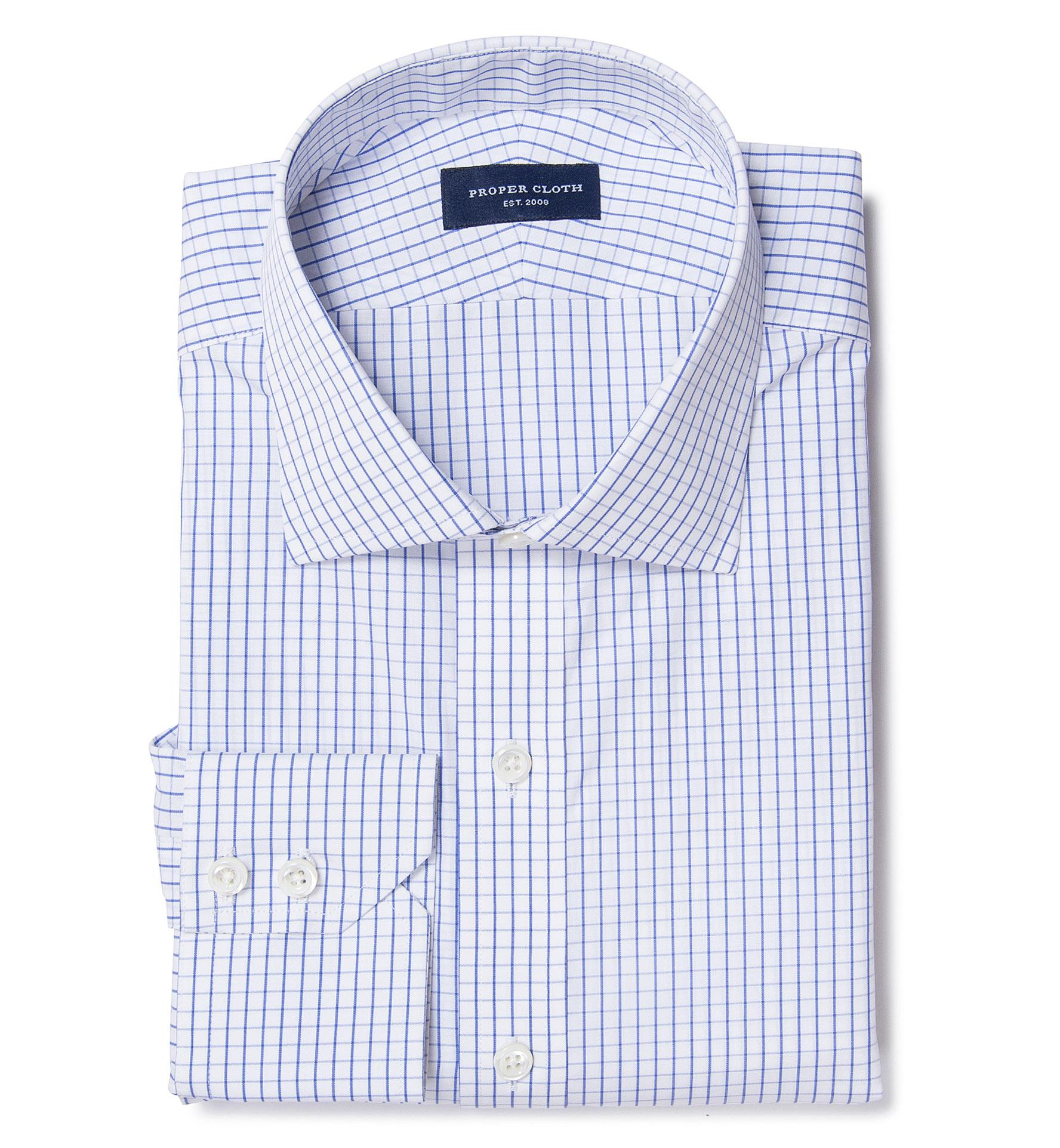 Thomas Mason Blue Grid Fitted Dress Shirt By Proper Cloth