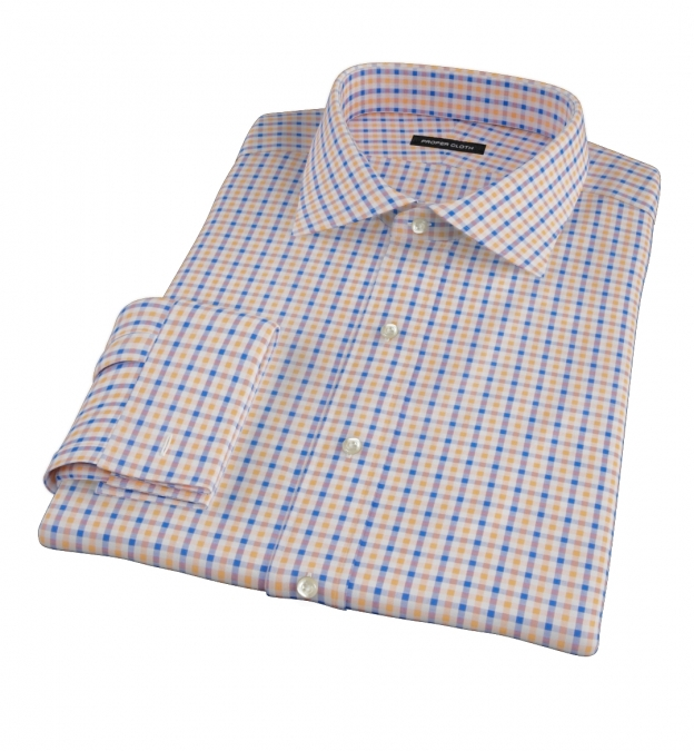 Orange And Blue Gingham Fitted Dress Shirt By Proper Cloth