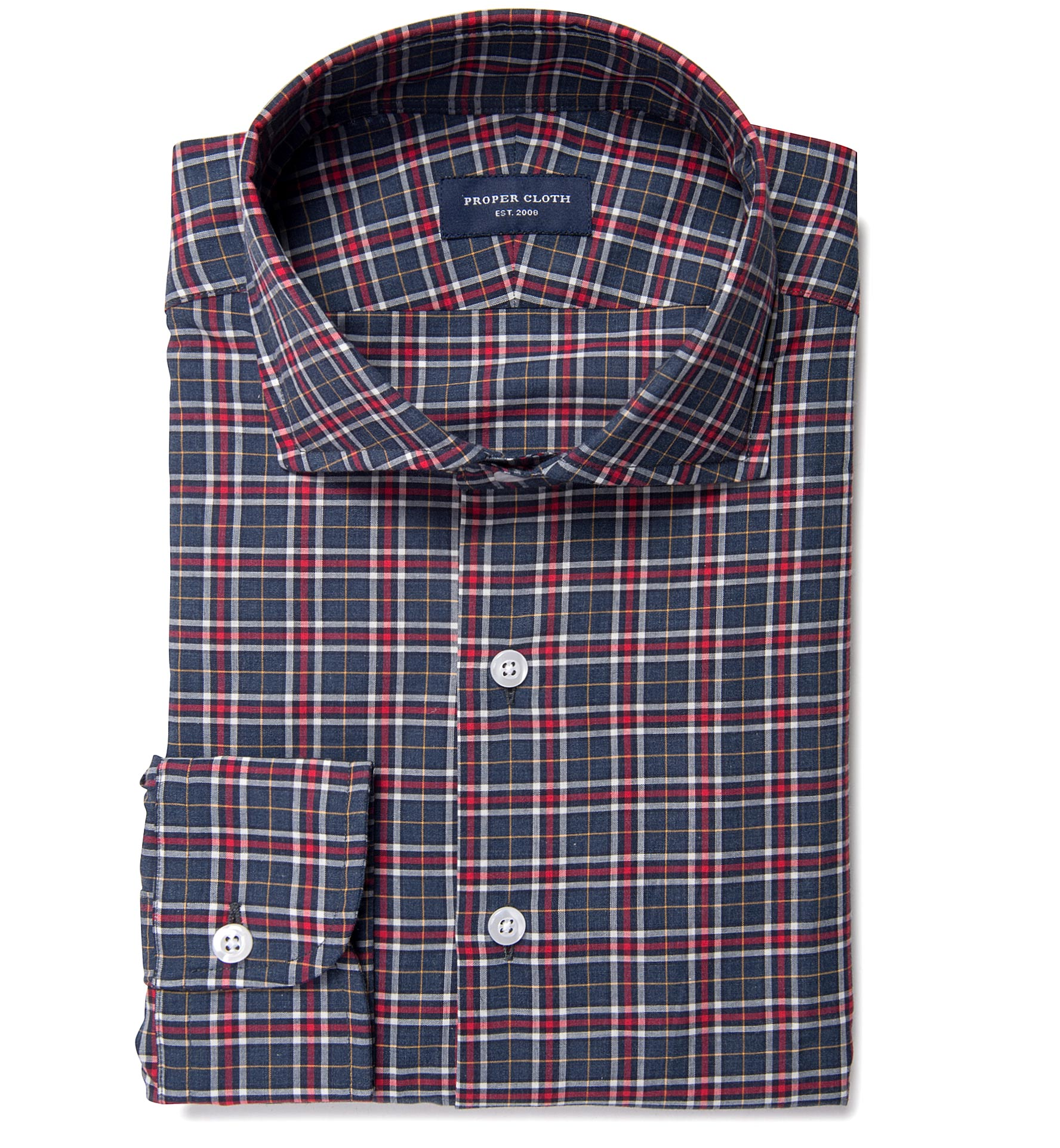 Sullivan Red And Grey Melange Check Tailor Made Shirt By