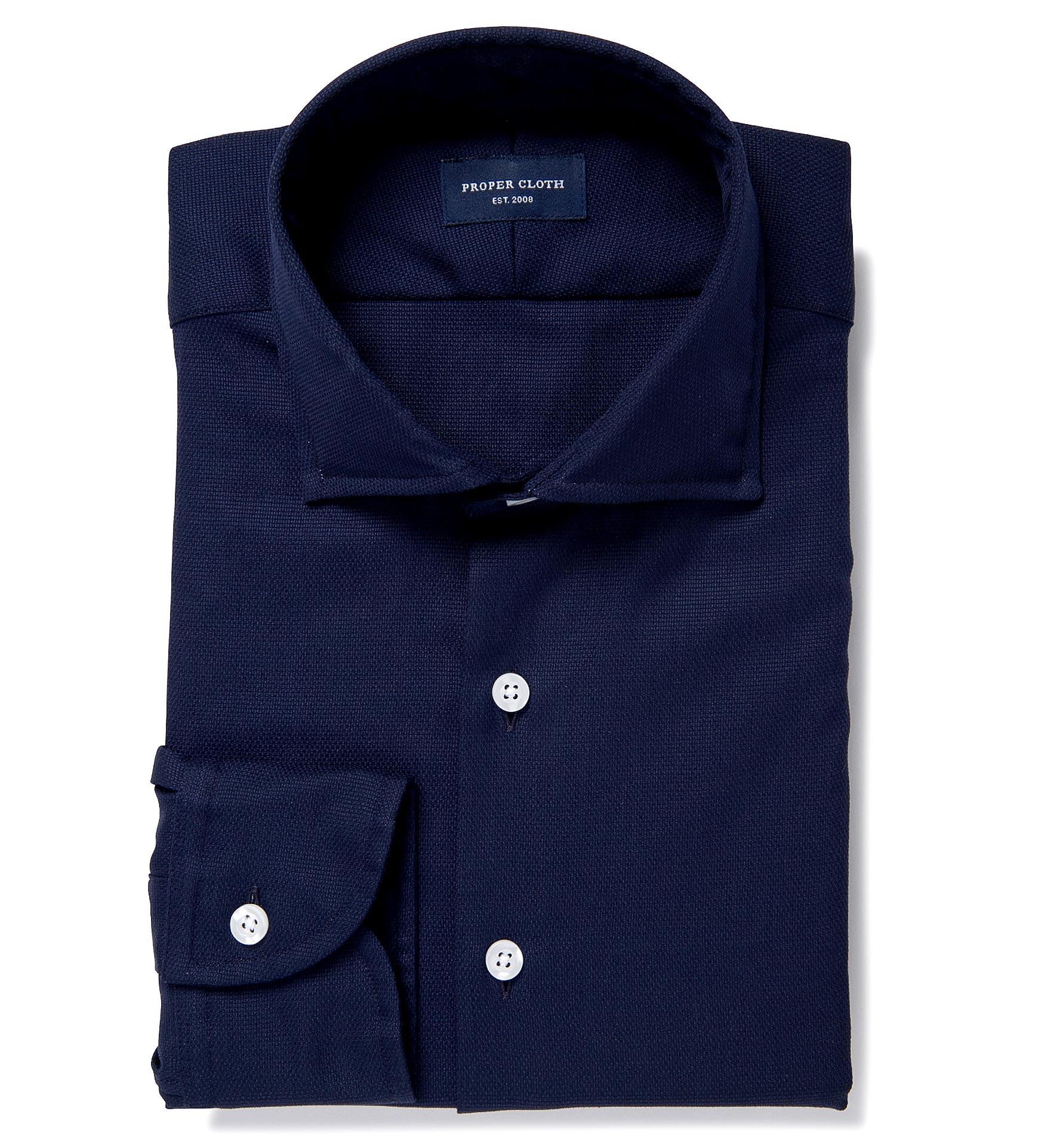 Thomas Mason Navy Woven Pique Dress Shirt By Proper Cloth