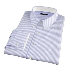 Blue University Stripe Heavy Oxford Fitted Dress Shirt