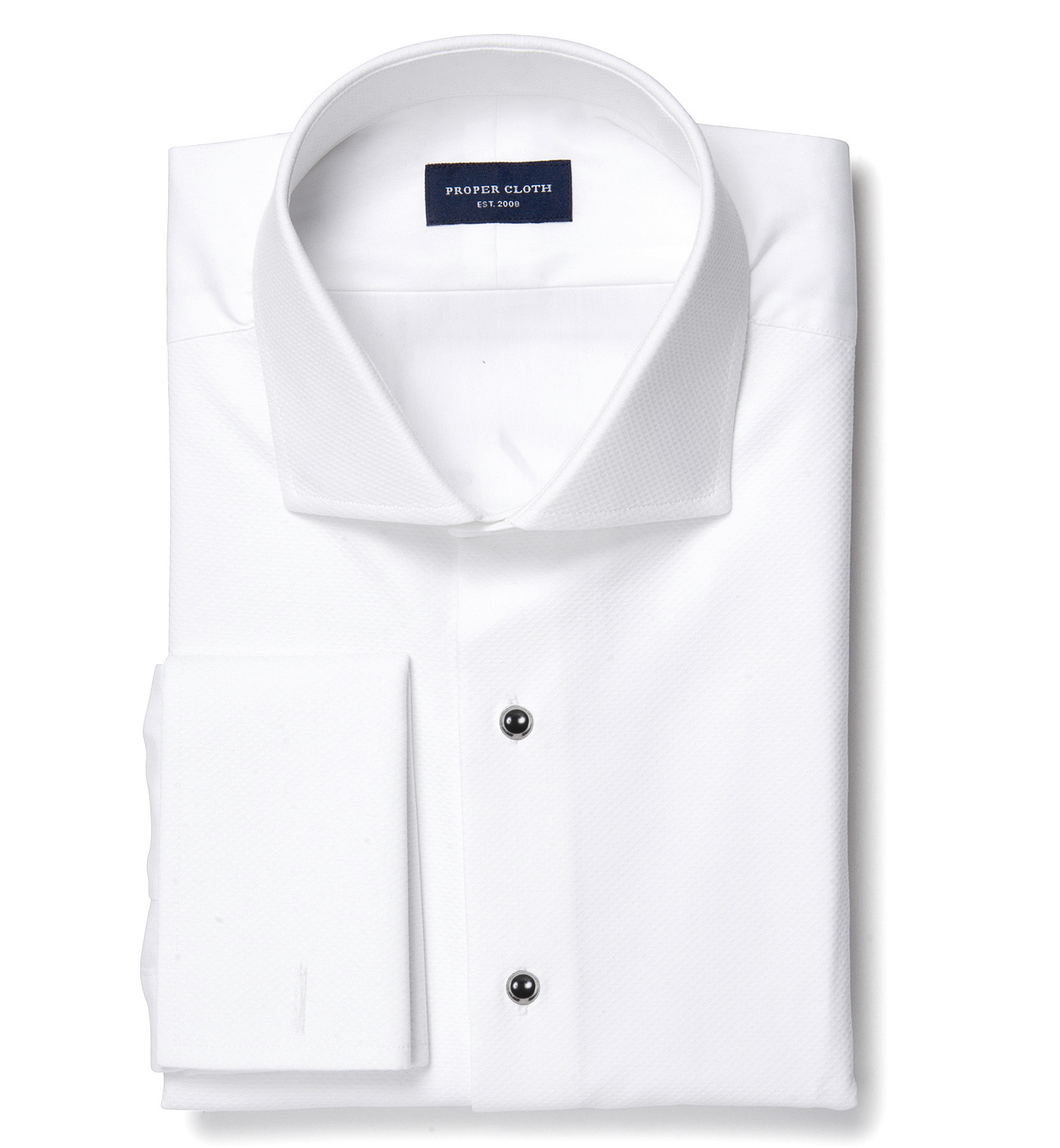 white stretch broadcloth dress shirt by proper cloth